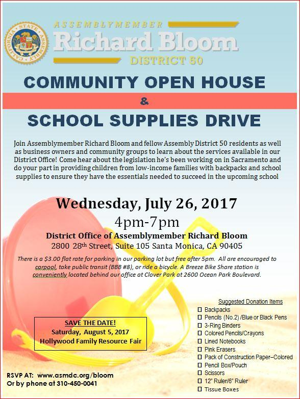 Assemblymember Richard Bloom Open House School Supplies Drive