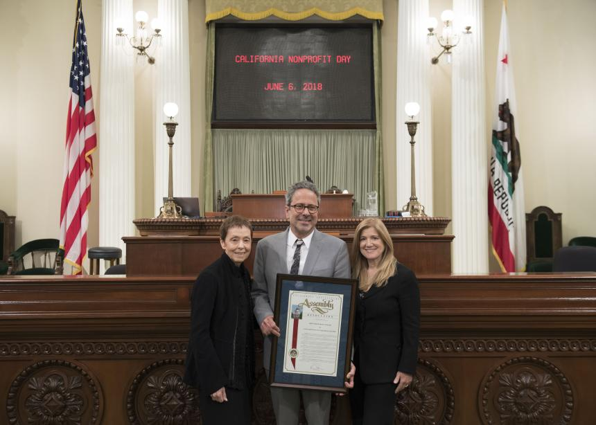 Assemblymember Bloom and Rape Treatment Center staff on Assembly Floor