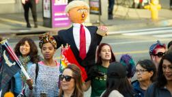 Trump effigy held by protester